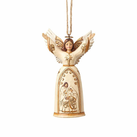 Ivory and Gold Nativity Angel Ornament