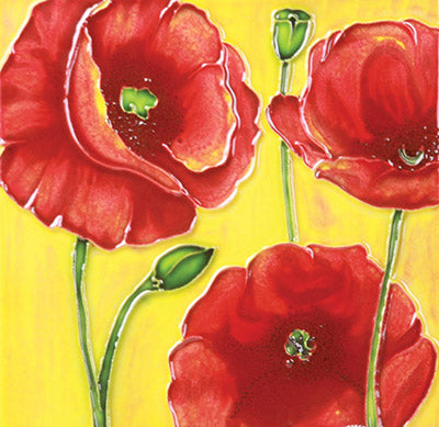 Benaya Art Tile Poppy Trio
