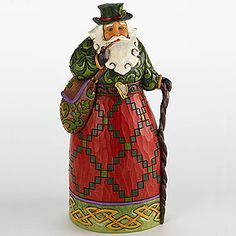 Irish Santa Hanging Ornament with cane