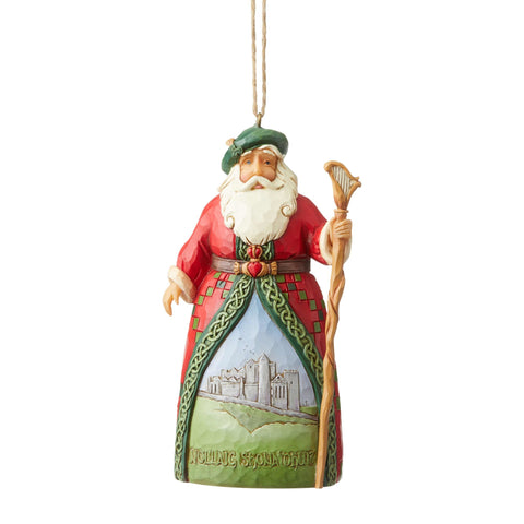 Irish Santa Hanging Ornament with Staff