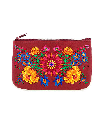 Embroidered Hungarian Flower Small Pouch