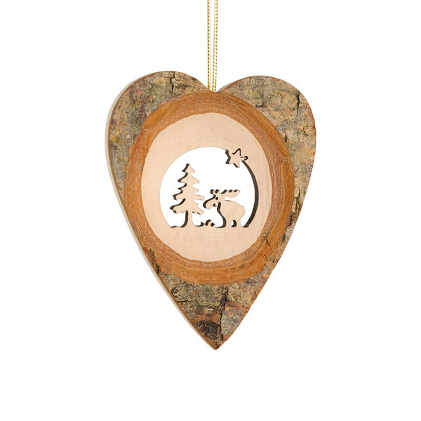 Bark ornaments, size 1, heart