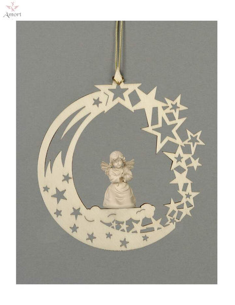 Moon  with Carved Angel and Swarovski Crystals