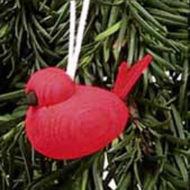 Wooden Red  Bird Ornament