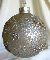 Silver Crackle  Christmas ornament with glitter