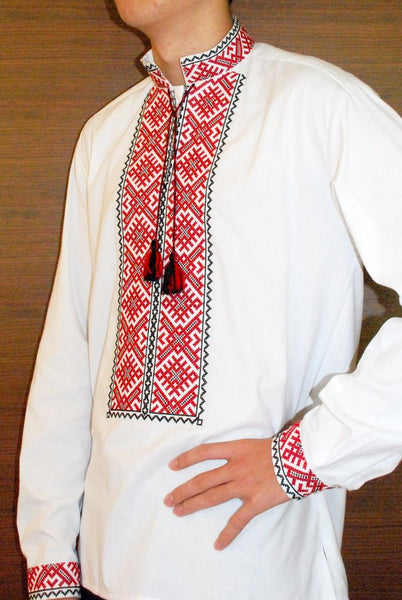 Men's  Vyshyvanka Red and Black Embroidered Shirt