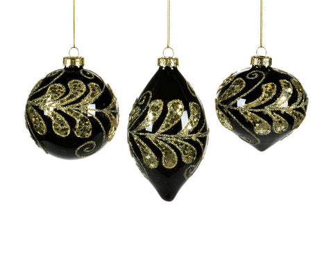 Black Glass and  Gold Leaf  Ornament
