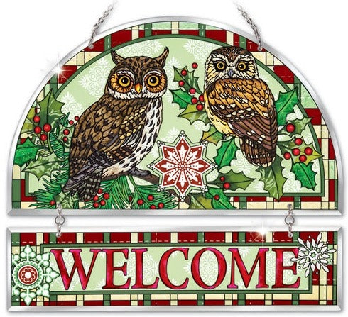 Christmas Owls Beveled  Panel Suncatchers