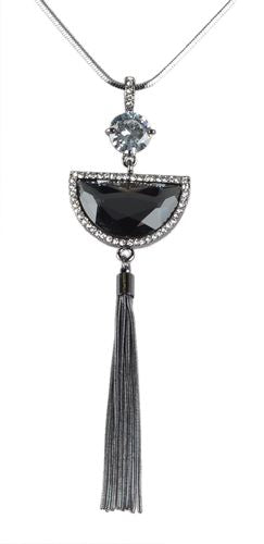Crystal Tassel Pendant Necklace