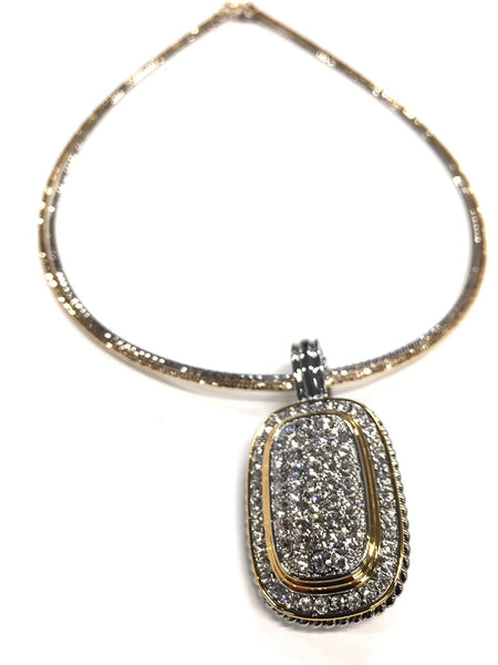 Jacqueline Kent Necklace Two Tone Antique Pendant