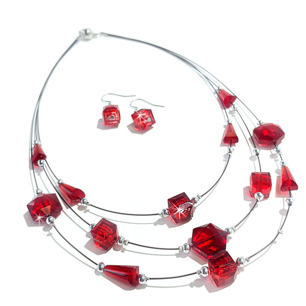 Jacqueline Kent Red Crystal Earring and Necklace Set