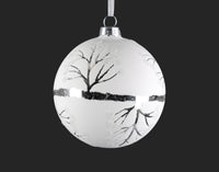 White Glass with Silver Tree Ornament
