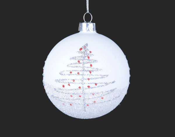 White Glass with Silver and Red Tree Ornament