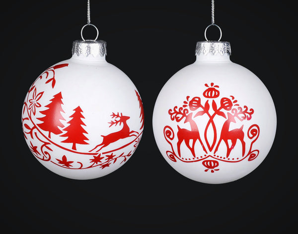 Red and White Glass Ball Ornament