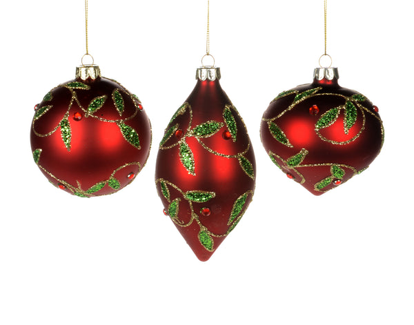 Red with  Green  Leaf  Ornament