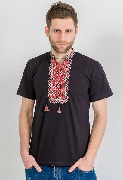 Men's Short Sleeve Shirt With Red and White Embroidery