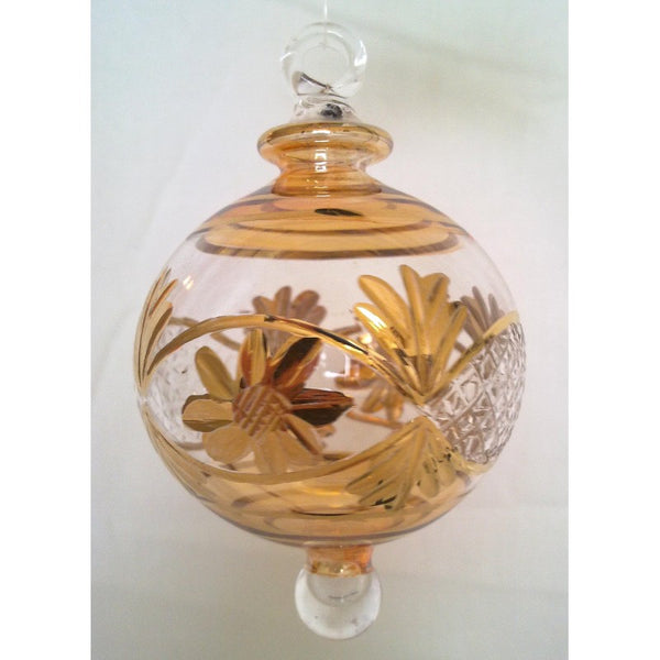 Amber Egyptian glass Christmas tree ball with gold
