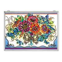 Frilly Floral Fantasy Rectangle Suncatcher Panel