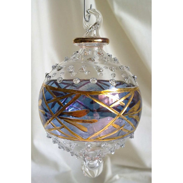Blue Egyptian glass Christmas tree ball with gold