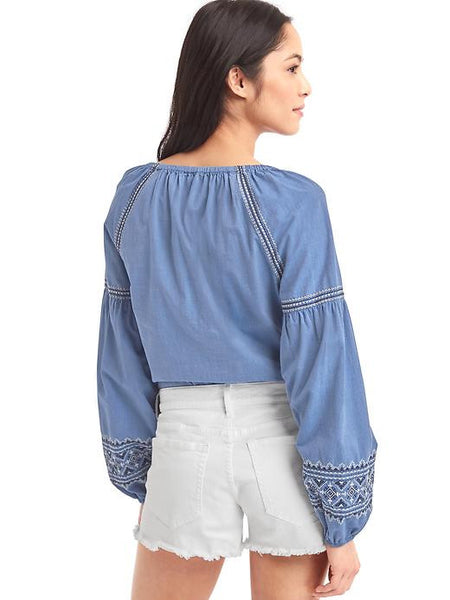 Blue On Blue Split-Neck Embroidery Top