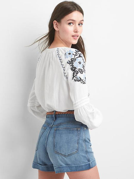 Embroidered Blue and Black on White Blouse