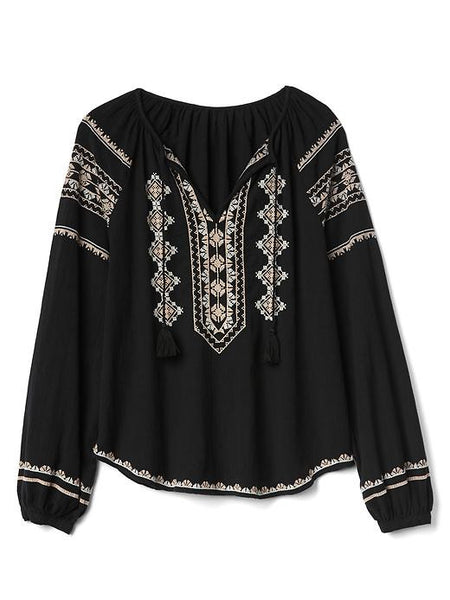 Black Blouse With White And Beige Embroidery