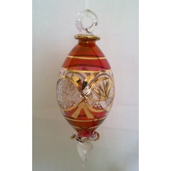 Red Double Point Egyptian glass Christmas tree ball with gold
