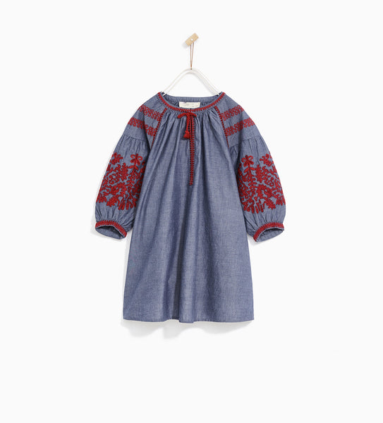 Girls Dress With Embroidered Sleeves