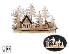 Wooden Lazer-Cut Lite-Up Winter Scene
