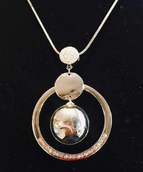 Circle and Ball Pendant Necklace