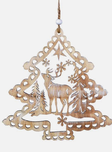 Natural Wood Hanging Stag Ornament