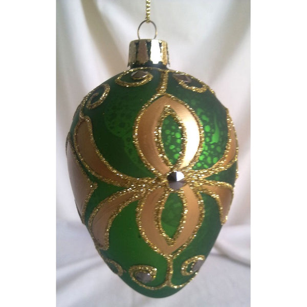 Green Egg shaped Glass Christmas ornament