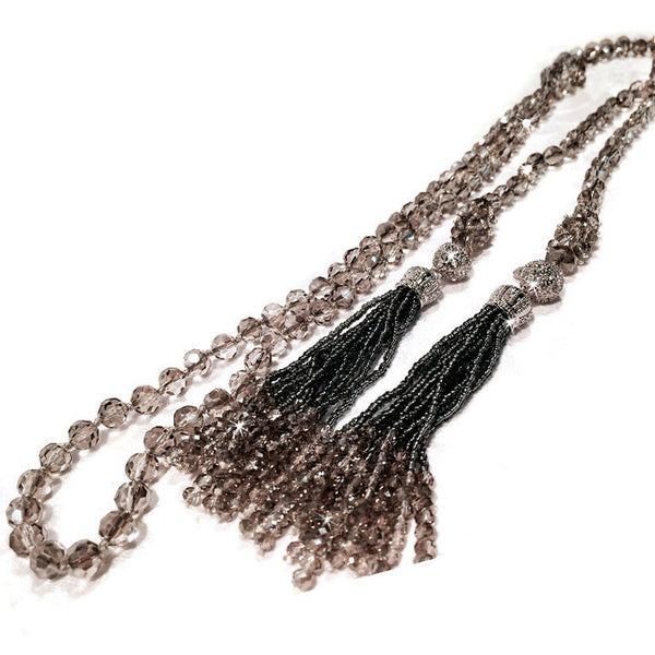 Magnetic Crystal Tassel  Necklace and Earring Set