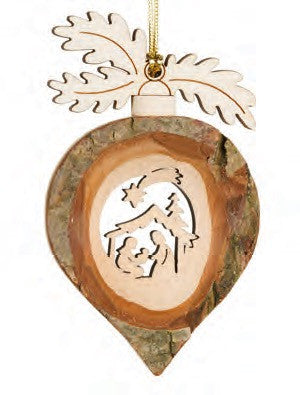 Nativity Rain Drop Bark Ornament