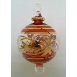 Dark Red  Egyptian glass Christmas tree ball with gold