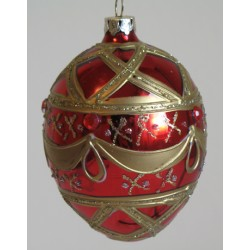 Red egg shaped glass Christmas ornament