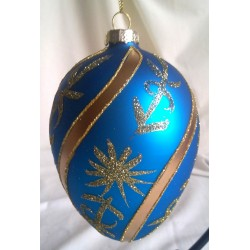 Royal Blue Egg Shaped Glass Christmas Ornament