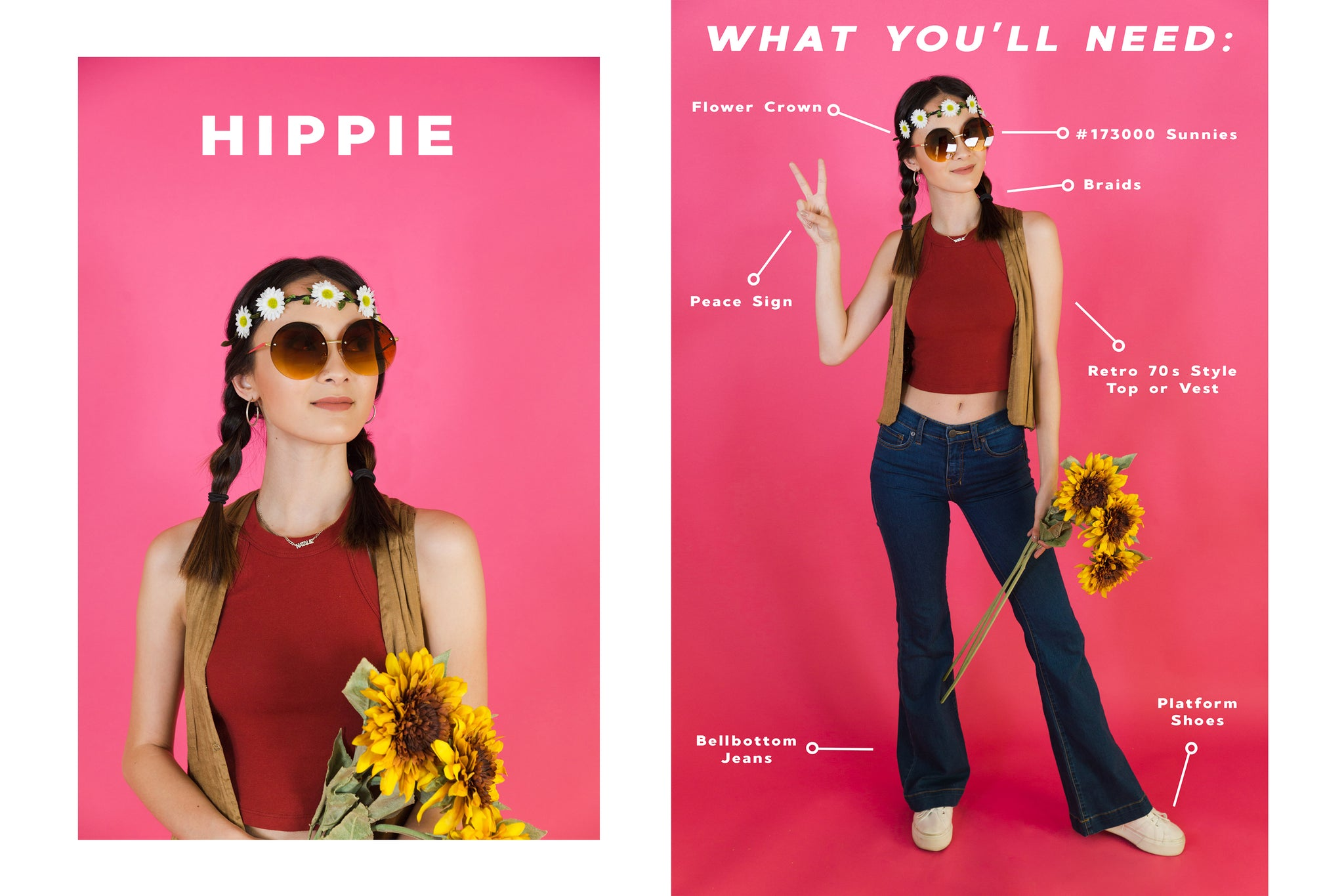 15 last minute halloween costume ideas sunglass spot for our hippie costume we used mostly everything we had in our closet already if you dont have a top or vest like the ones shown you can easily swap it solutioingenieria Gallery