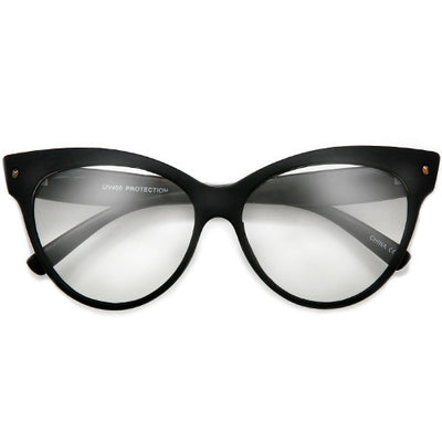 Retro Glamour 58mm Studded High Pointed Tip Clear Lens High Fashion Cat Eye Eyewear