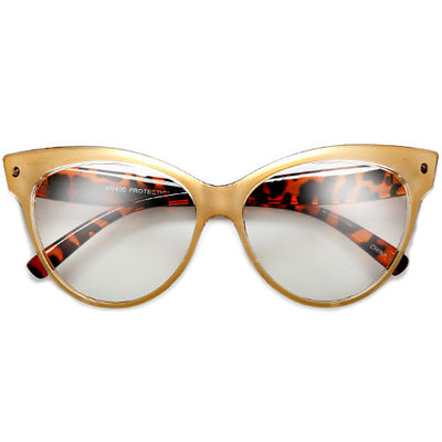 Retro Glamour 58mm Studded High Pointed Tip Clear Lens High Fashion Cat Eye Eyewear - Sunglass Spot