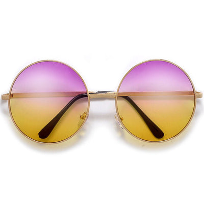 Oversized Retro Round Colorful Ombre Lens Boho Fashion Sunglasses - Sunglass Spot