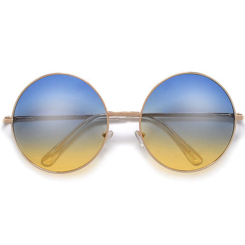 Oversized Retro Round Colorful Ombre Lens Boho Fashion Sunglasses