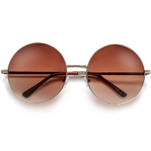 Oversized 60mm Round Boho Chic Wire Frame Sunnies
