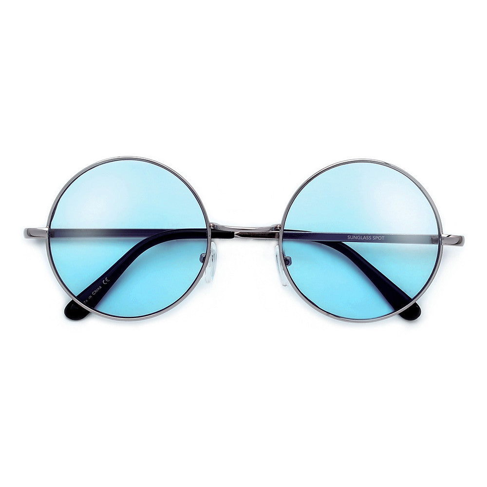 0215b73dad Lennon Inspired Colorful Lens Retro Round 50mm Metal Sunglasses ...