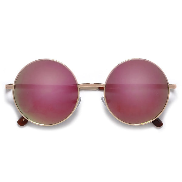 Lennon Inspired Colorful Lens Retro Round 50mm Metal Sunglasses