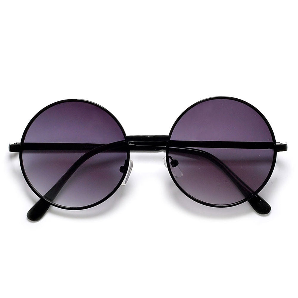 bc98785619 Vintage Lennon Inspired 51mm Mid Size Round Thin Metal Sunglasses ...