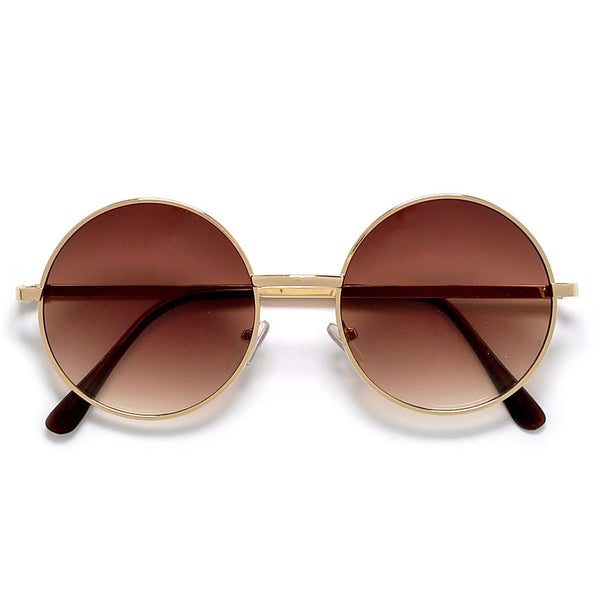 Vintage Lennon Inspired 51mm Mid Size Round Thin Metal Sunglasses