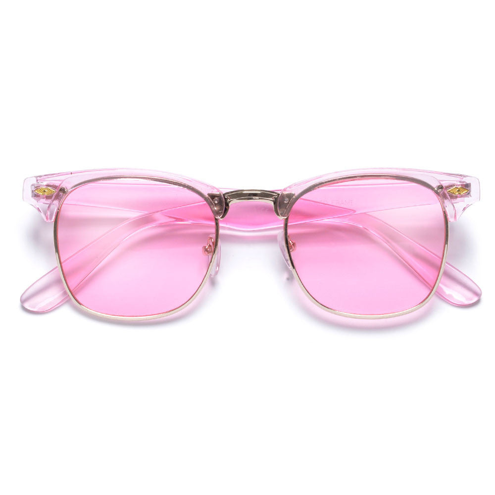 pink clubmaster sunglasses  Retro Half Frame Semi-Rimless Colorful Lens Clubmaster Sunglasses ...