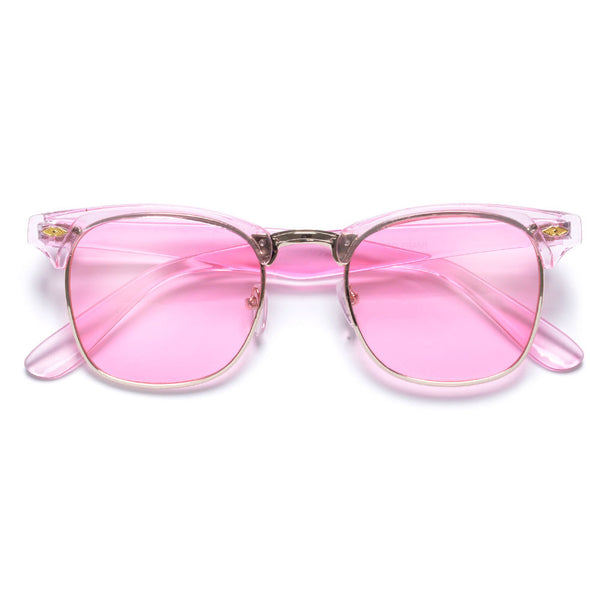 Retro Half Frame Semi-Rimless Colorful Lens Clubmaster Sunglasses