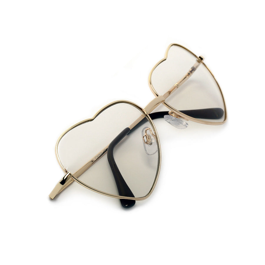 Adorable Sweet Heart Shaped Clear Eyewear - Sunglass Spot